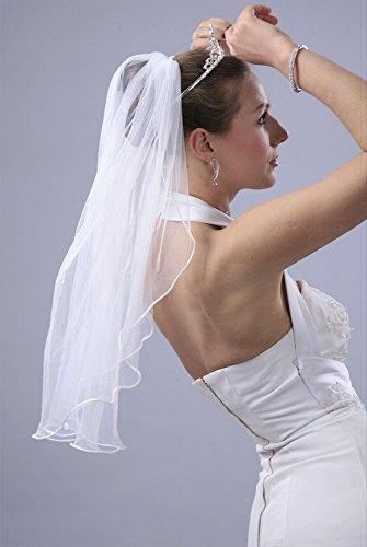 Bridal Wedding Veil White 1 Tier Shoulder Length 1/8in Round Satin Cord Edge Velvet Veil