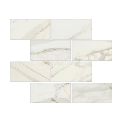 (Calacatta Gold (Italian Calcutta) Marble 3 X 6 Subway Field Tile,)