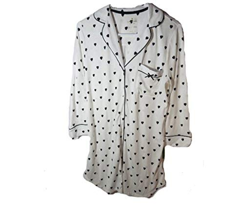 Kate Spade Dream A Little Dream Night Shirt, Black Hearts (L) (Kate Spade Dream A Little Dream Pajamas)