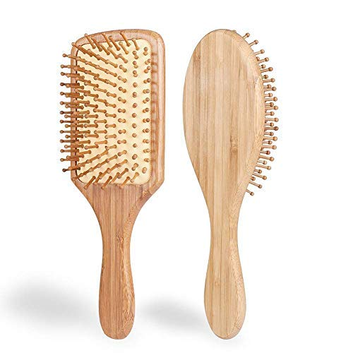 Hair Brush - ELVASEN 2 Pack Natural Wood Paddle Brush Detangling Scalp Bamboo Massage Hair Comb - Organic Wooden Bristle Cushion Hairbrush for Thick Curl Hair