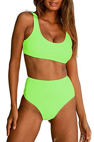 Women Athletic Two Piece Bikini Set Bandeau Crop Top Swimsuit High Waisted Sports Bathing Suit