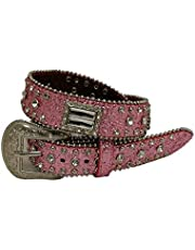 Kids Western Belts with Rhinestone Tooled Leather Glisten Bling