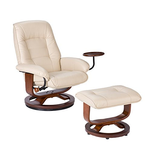 Bonded Leather Recliner and Ottoman - Taupe (Recliner Taupe Rocker)