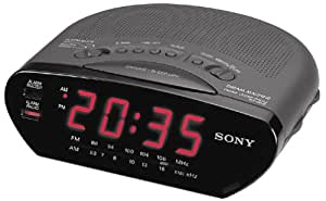 sony icf c211 blk am fm clock radio discontinued by manufacturer home audio theater. Black Bedroom Furniture Sets. Home Design Ideas