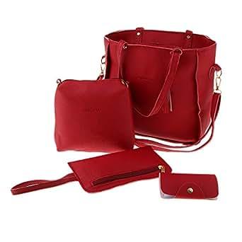 Baosity Women's Satchel Handbag Designer Large Top Handle Bag 4 PCS Set Shoulder Bag - Red, as described