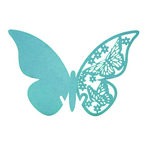 AKOAK Pearlized Paper Butterfly Table Number Place Card Name Card Wine Glass Cup Decoration Wall Decals Sticker for Wedding Party Favor Decor,50 Counts (Tiffany Blue)