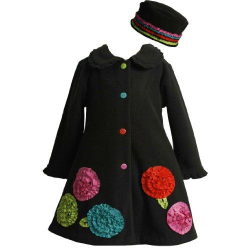 Bonnie Jean GIRLS 2T-6X 2-Piece BLACK MULTI-COLOR BONAZ ROSETTE BORDER Fleece Outerwear/Jacket/Coat and Hat Set