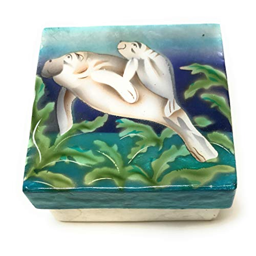 Kubla Crafts Manatee with Baby Capiz Shell Keepsake Box, 3 Inches X 3 Inches