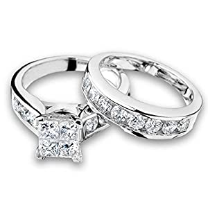 1/2 Carat (ctw) Princess Cut Diamond Engagement Rings for women and Wedding Band Set in 10K White Gold