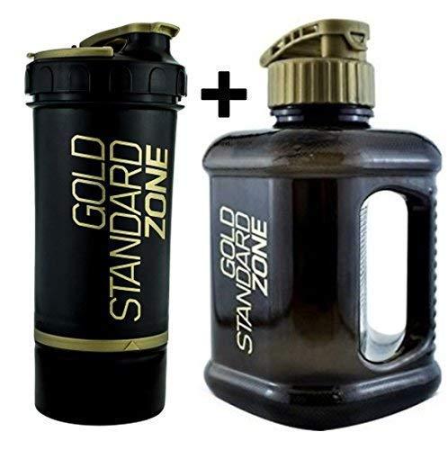 ON Optimum Nutrition Gold Standard Zone Black Gym Protein Shaker 800ml + 2 Litre Water Bottle Jug