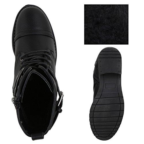 Damen Stiefeletten Lack Worker Boots Schnürstiefel Zipper Flandell Schwarz Nieten Arriate