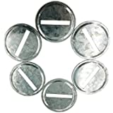 Galvanized Metal Coin Slot Bank Lid Insert for Mason, Ball, Canning Jars (6pack, Wide Mouth)