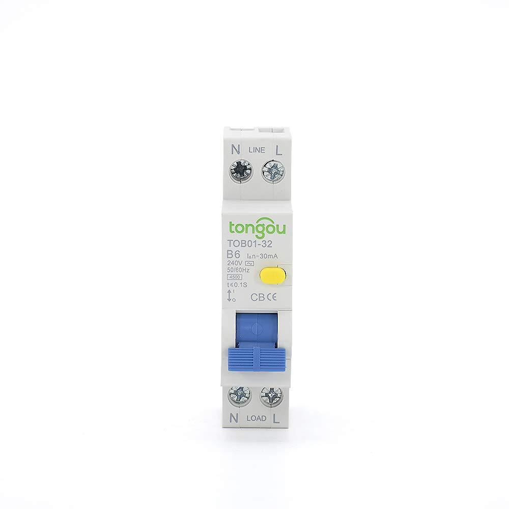 30 mA,Sensibilidad 1 polo 6 A Corriente Tipo B TONGOU AC Clase electr/ónica RCBO 4,5 kA Capacidad de ruptura 1 m/ódulo