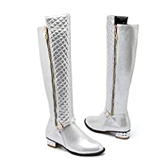 Women's Square Heel Knee High Boots Fashion Solid Color Comfortable Zipper Non-Slip Female Round Toe Boots              Upper Material: PU       Boot Height: Knee-High       Closure Type: ZIP       Boot Type: Basic       Toe S...