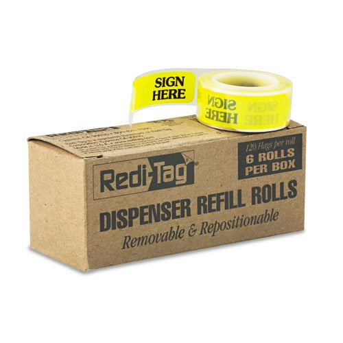 Redi-Tag Arrow Message Page Flag Refills, inchSign Here inch, Yellow, 6 Rolls of 120 ()
