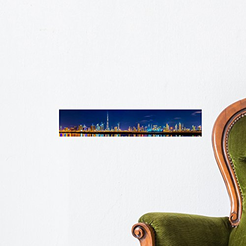 Night Panorama Dubai Downtown Wall Mural by Wallmonkeys Peel and Stick Graphic (18 in W x 3 in H) - Mall Creek City