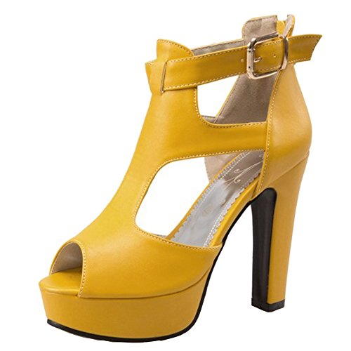 TAOFFEN Women Party Dress High Heel Sandals Peep Toe T-Strap Shoes Yellow o4Nc99hj
