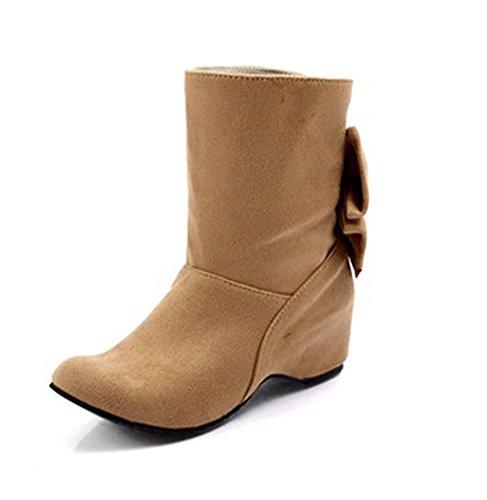 CHFSO Womens Sweet Heighten Inside Bowknot Rhinestone Nubuck Short Boots Apricot
