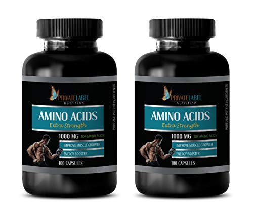 Muscle Pump Supplements - Amino ACIDS 1000 mg Complex - Extra Strength - l-lysine Immune Support - 2 Bottles 200 Capsules by Private Label
