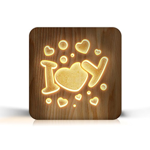 - FULLOSUN Wooden Carving Led Light Romantic I Love U Desk Lamp Valentine's Day Gifts