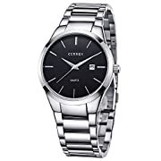 Amazon Lightning Deal 98% claimed: Voeons Men's Watches Quartz Auto Date Silver Stainless steel Strap Watch