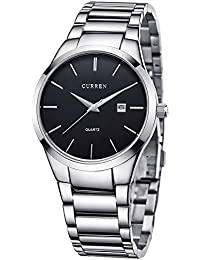 Voeons Men's Watches Quartz Auto Date Silver Stainless steel Strap Watch