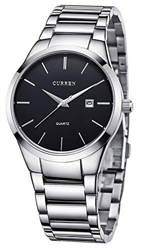 Voeons Men's Watches Quartz Auto Date Silver Stainless steel Strap Watch