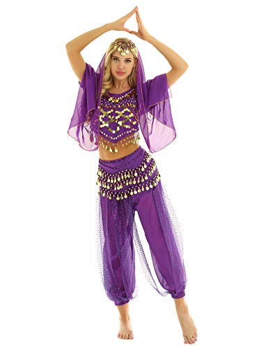 ACSUSS Womens Adult Belly Dance Set Coins Top with Harem Pants Set Hip Scarf Dance Costume Purple One Size ()