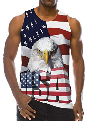 Men 3D Printed Patriotic USA Flag Animal Bird Hawk Graphic Tank Tops Design Funniest Athletic Sleeveless Summer 4 July Vest Top Tee Shirt ()