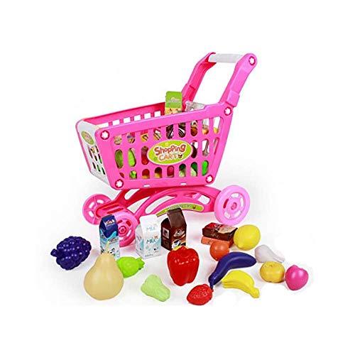 Carrito de Compras de Supermercado de Juguete con Alimentos. Color Rosa.