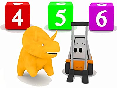 Learn numbers with Dino the Dinosaur : Build a tower with cubes
