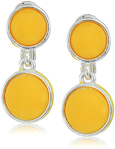 Napier Silver-Tone and Yellow Double Drop Clip-On Earrings