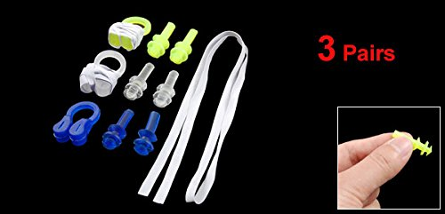 3 Pairs Adults Swimming Silicone Ear Plugs + Nose Clip Set