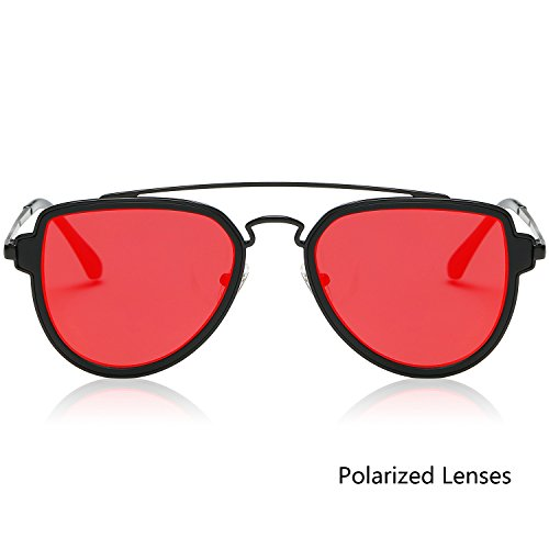 SojoS Fashion Aviator Sunglasses Polarized Mirrored Lens Double Bridge SJ1051 C18 Black Frame/Red Polarized Lens