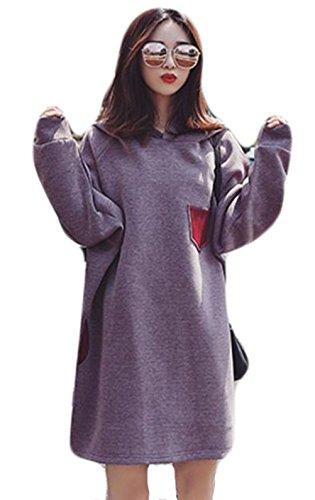 過敏な学校教育タヒチDeBangNi フードパーカー 秋 レディース スウェット 無地 フード付き 耳付き 可愛い トップス ゆったり 韓国 ファッション シック ロングパーカー 綺麗 女性用