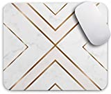 Oriday Gaming Mouse Pad Custom for Home and Office, Modern Gold Cross Line Design for Women Non-Slip Rubber Thick Mouse Pad for Computers Desktops, PC, Laptop (11 - Chic White)