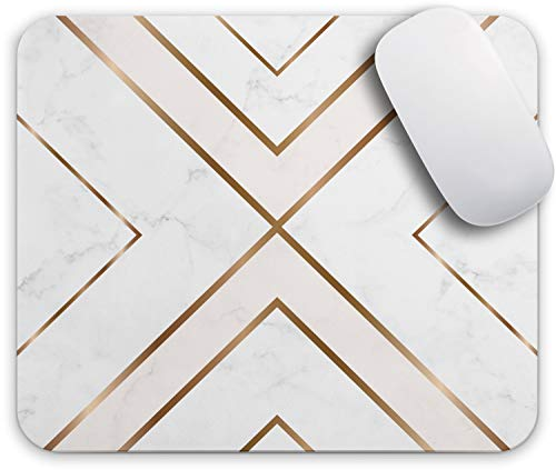 Oriday Gaming Mouse Pad Custom for Home and Office, Modern Gold Cross Line Design for Women Non-Slip Rubber Thick Mouse Pad for Computers Desktops, PC, Laptop (11 - Pink Marble)