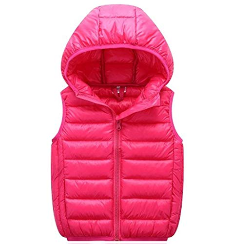 Girls Jacket Puffer Hooded (LANBAOSI Boys Girls Winter Hooded Puffer Vest Kids Lightweight Sleeveless Jacket Rose Red)