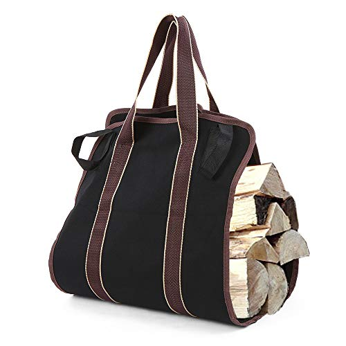 Explopur Firewood Log Carrier Bag - Black Canvas Wood Tote Holder - for Fireplaces Camping Wood Stoves Beaches