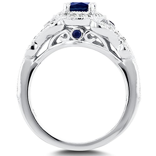 Antique Milgrain Sapphire and Diamond Engagement Ring 1 Carat (ctw) in 14k White Gold, Size 7 by Kobelli (Image #1)