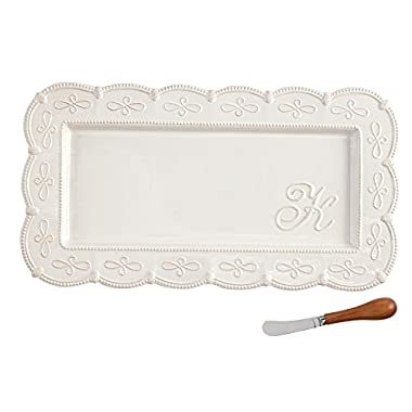 Mud Pie 4111011K K Initial Hostess Platter Tray Set, Ivory