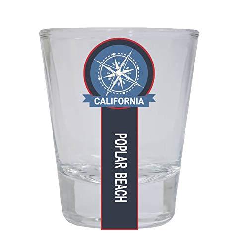 Poplar Beach California Nautical Souvenir Round Shot Glass ()