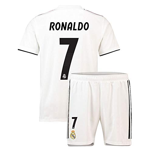 Youth Ronaldo  7 Real Madrid Kids Boys 2018 19 New Home Soccer Jersey    Shorts Sizes White (M(9-10Years Old)) 79fe3ad15
