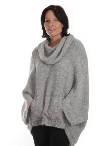 Mission Cocoon Alpaca Wool Bouclé Pullover, Oversized, Snuggly, Poncho style Sweater with Cowl Neck (Titanium Gray, -