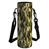 iPrint Water Bottle Sleeve Neoprene Bottle Cover,Camo,Eagle Silhouettes Flying Open Wings Falcon Hawk Armed Forces Theme,Army Green Dark Brown Cream,Fit for Most of Water Bottles