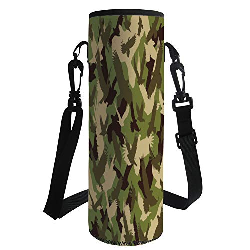 iPrint Water Bottle Sleeve Neoprene Bottle Cover,Camo,Eagle Silhouettes Flying Open Wings Falcon Hawk Armed Forces Theme,Army Green Dark Brown Cream,Fit for Most of Water Bottles by iPrint