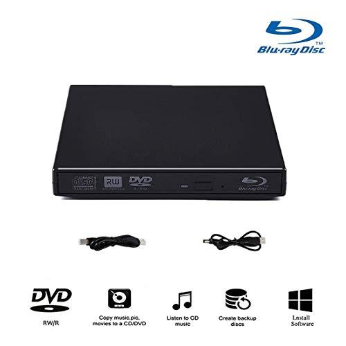 External Blu-ray Drives, External blu-ray DVD Drive for PC Computer USB 2.0blu-ray DVD CD Drive/BD - ROM, Support Super-Laptop Desktop Notebook PC (Black)