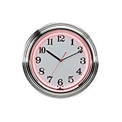 15 Flashing Neon Wall Clock with Chrome Border - Pink & White