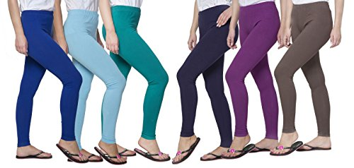 Clifton Women's Cotton Spandex Fine Jersey Leggings Pack Of 6-Assorted-4-XL by Clifton (Image #1)