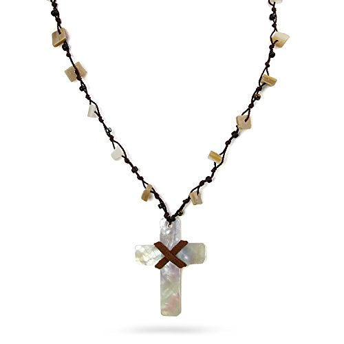 Fashion Necklace - Beach Surf Ocean Shell Beads Rosary Cross Pendant